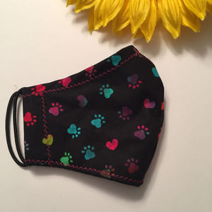 Kids Face Mask Hearts & Paws Print Ages 2-6